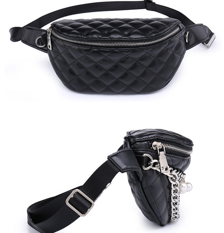Image of Quality Fashion Ling Grid  Pearl Chain Waist Bag Bananka Travel Leisure Fanny Pack  Women Walking Shopping Belly Band belt bag - AMAZOFFER