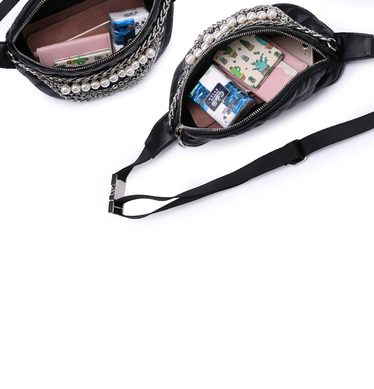 Quality Fashion Ling Grid  Pearl Chain Waist Bag Bananka Travel Leisure Fanny Pack  Women Walking Shopping Belly Band belt bag - AMAZOFFER
