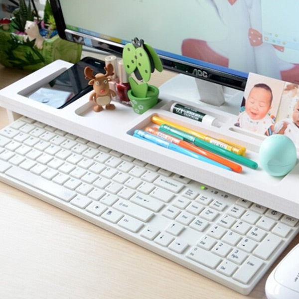 Multifunction Desktop Computer Keyboard Storage Shelf Wooden Plastic Pen Beads Home Decor Hanger Organizer - AMAZOFFER