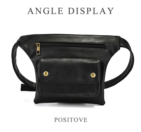 Image of Casual Waist Pack Women Pu Leather Fanny Packs Ladies Luxury Brand Multi-Function Unisex Waist Bags Female Money Phone Belt Bag - AMAZOFFER