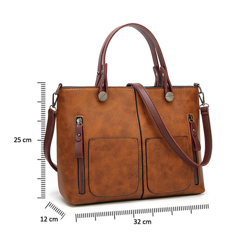 Image of Vintage Women Large Capacity Shoulder Bag Female Causal Totes All-Purpose High Quality Dames Handbag Casual Messenger Bag - AMAZOFFER