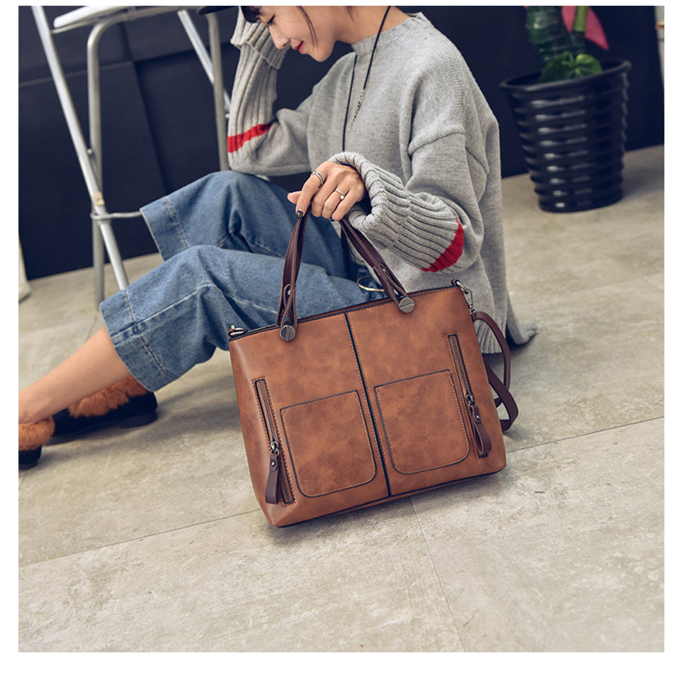 Vintage Women Large Capacity Shoulder Bag Female Causal Totes All-Purpose High Quality Dames Handbag Casual Messenger Bag - AMAZOFFER
