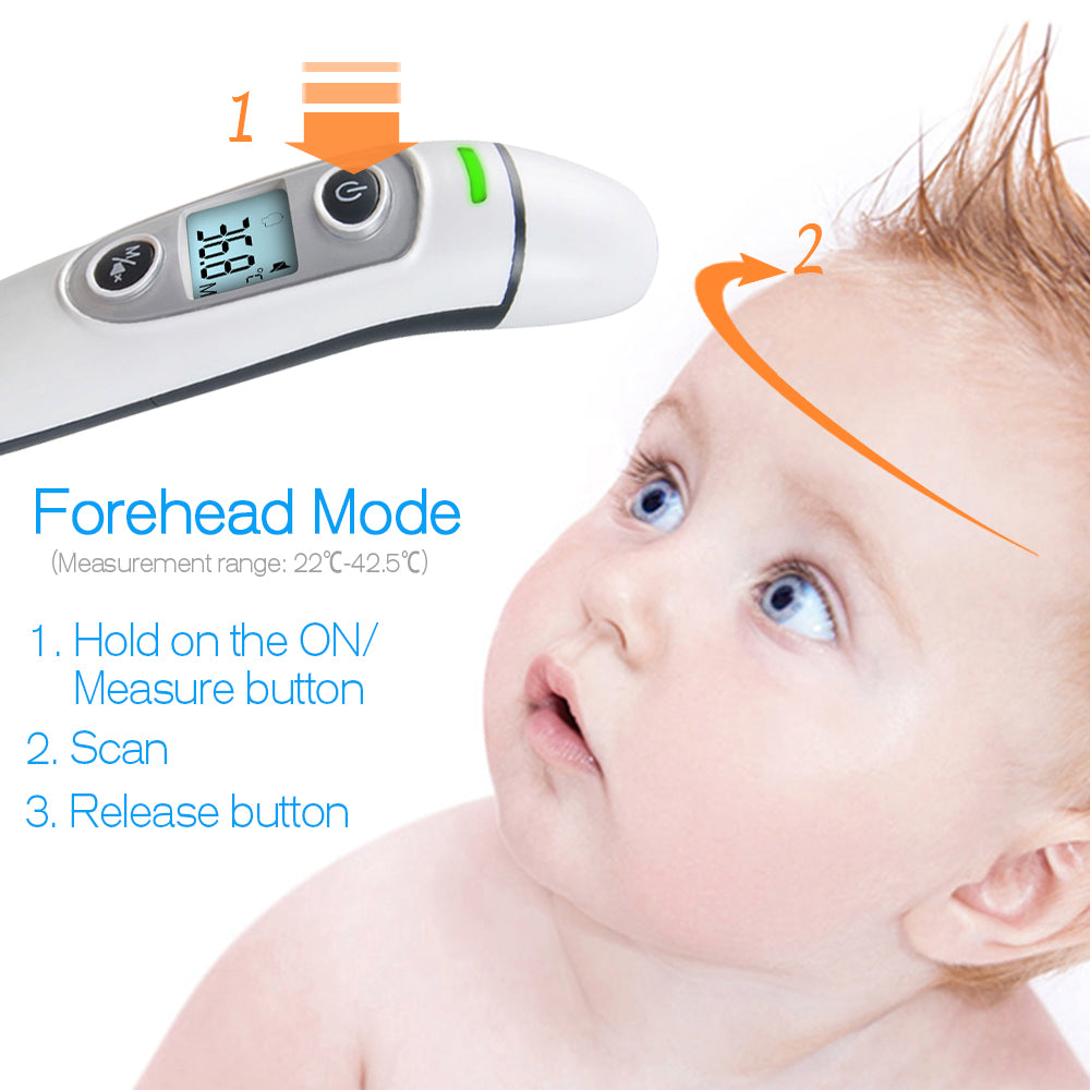 baby Thermometer Digital Infrared  IR LCD Baby Forehead and Ear Non-Contact Adult Body Fever Measurement Termometer - AMAZOFFER