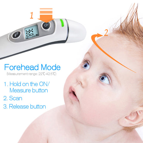Image of baby Thermometer Digital Infrared  IR LCD Baby Forehead and Ear Non-Contact Adult Body Fever Measurement Termometer - AMAZOFFER