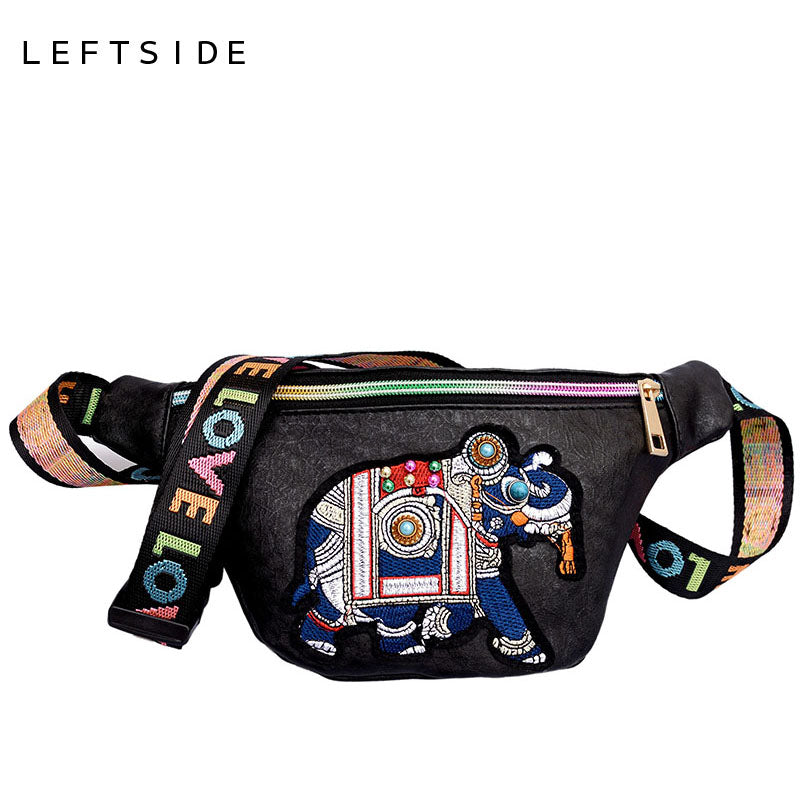 LEFTSIDE Women Embroidery Elephant Fanny Packs Waist Bags Ladies PU Leather Belt Bag Chest Bags Colors Leather Shoulder Belts - AMAZOFFER
