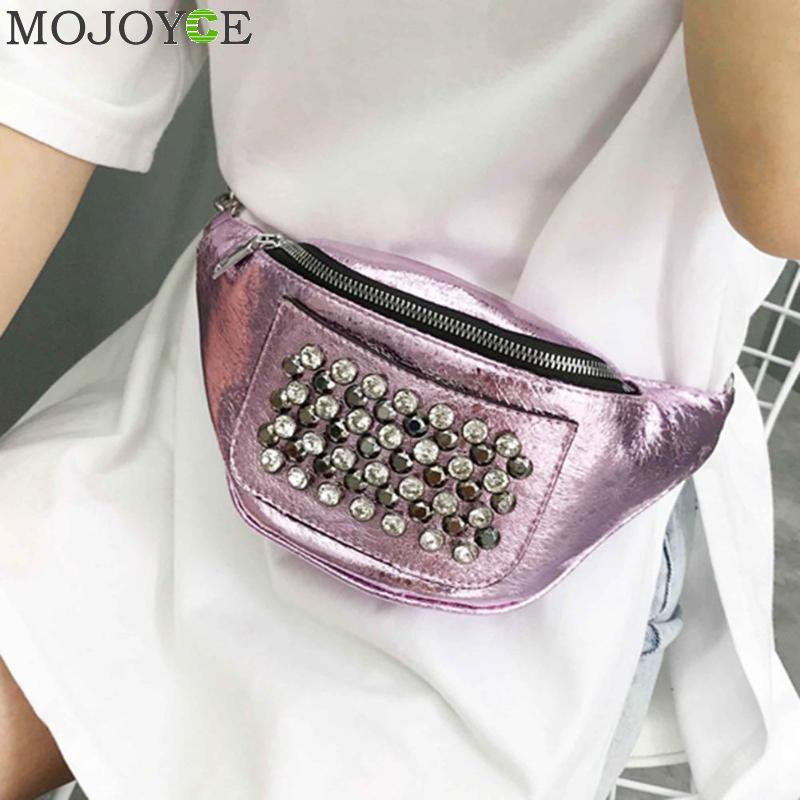 Brand Women Waist Packs Leather Fanny Pack Fashion Rhinestones Rivet Female Belt Bag Luxury Handbag Women Bags Designer - AMAZOFFER