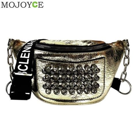 Image of Brand Women Waist Packs Leather Fanny Pack Fashion Rhinestones Rivet Female Belt Bag Luxury Handbag Women Bags Designer - AMAZOFFER
