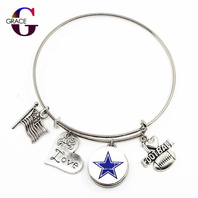 Cowboys Charms Adjustable I Love Football Expandable Bracelets Bangle With 18mm Ginger Glass Snaps Buttons - AMAZOFFER