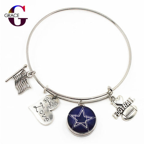 Image of Cowboys Charms Adjustable I Love Football Expandable Bracelets Bangle With 18mm Ginger Glass Snaps Buttons - AMAZOFFER