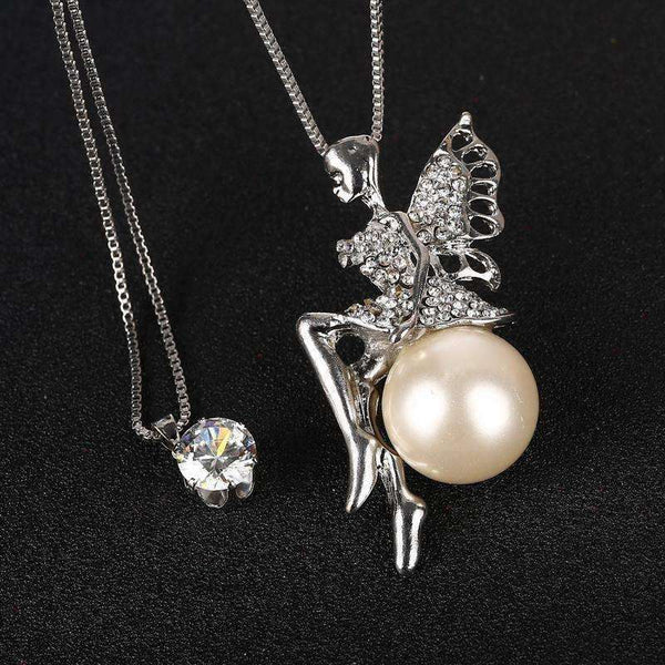 Fashion Crystal Jewelry Angle Pendant Necklaces 2 Multilayers Silver Plated Chain Long Necklaces - AMAZOFFER