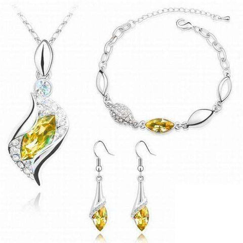 Elegant Waterop Earrings Jewelry Sets Gold Plated Austrian Crystal Necklace Bracelets For Woman - AMAZOFFER