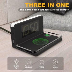 Fast Wireless Charger 3 In 1 Multi-function Alarm Clock/ Night Light Mobile Phone Holder Smartphone Charging Dock Station - AMAZOFFER