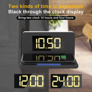 Fast Wireless Charger 3 In 1 Multi-function Alarm Clock/ Night Light Mobile Phone Holder Smartphone Charging Dock Station