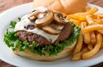 Beef burger with mushrooms (200 gm) with fries - aklabaity delivers best home made food