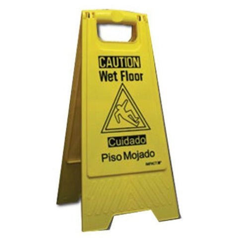 (Qty 6) Impact 9152W Yellow Wet Floor Signs English / Spanish