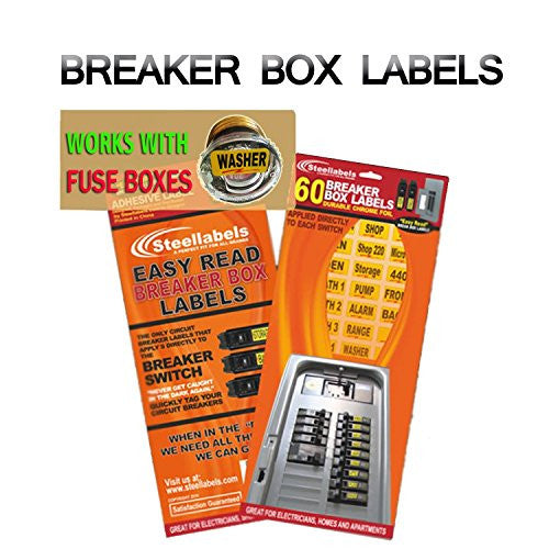 """Easy Read"" Breaker Box Decals. Tough vinyl labels for Circuit Breakers, great for Home Owners, Apartment Complexes and Electricians. Place stickers directly on the breaker switch, makes identifying the right circuit easier. Best Quality at the Best Price"
