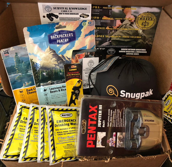 AUGUST 2018 SURVIVAL BOX- ALPHA - BINOCULARS & GEAR FOR PACKS AND GO BAGS
