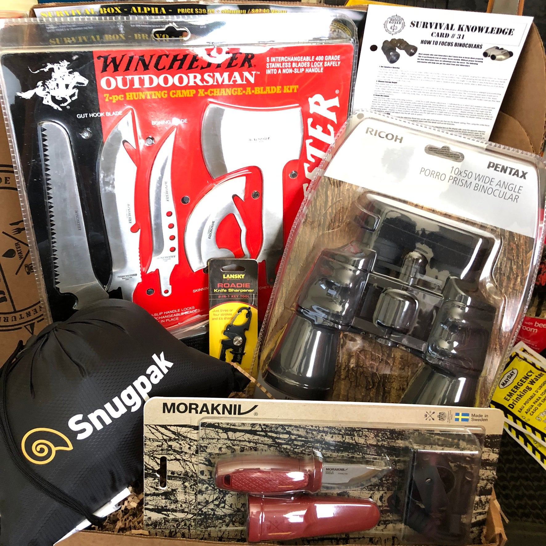 AUG 2018 SURVIVAL BOX GEAR ONLY XL - BINOCULARS & GEAR FOR PACKS AND GO BAGS