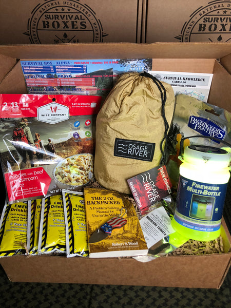 JULY 2018 SURVIVAL BOX - ALPHA SURVIVING THE GREAT OUTDOORS  HIKING & CAMPING THE USA