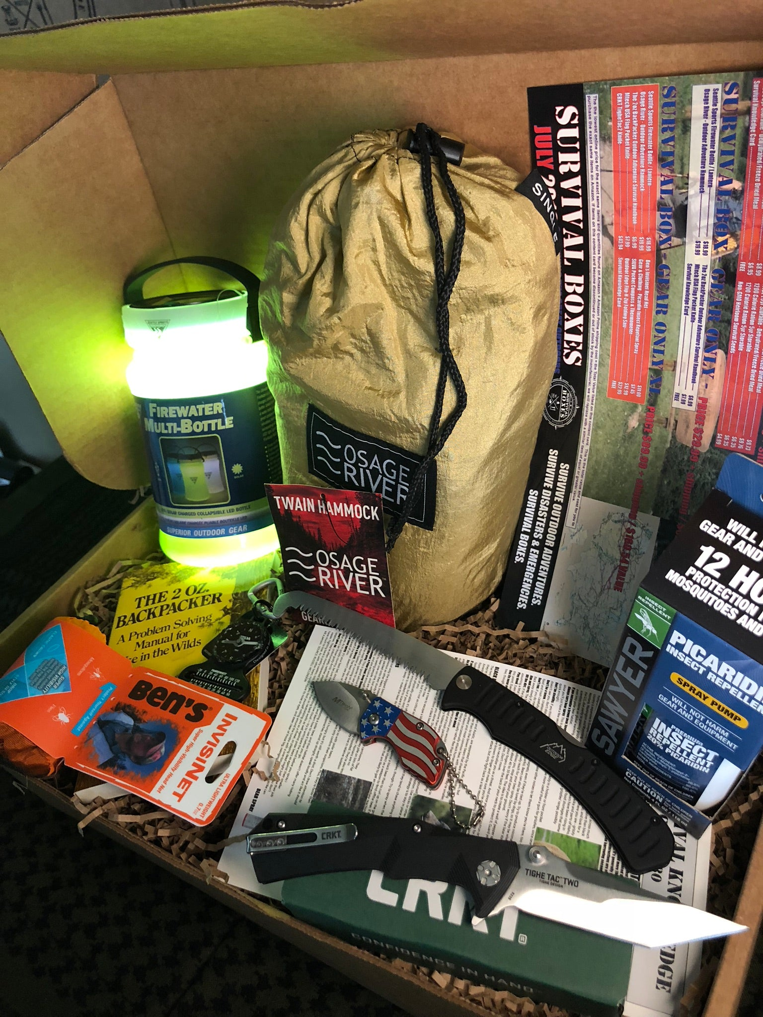 JULY 2018 SURVIVAL BOX – GEAR ONLY XL - SURVIVING THE GREAT OUTDOORS  HIKING & CAMPING THE USA