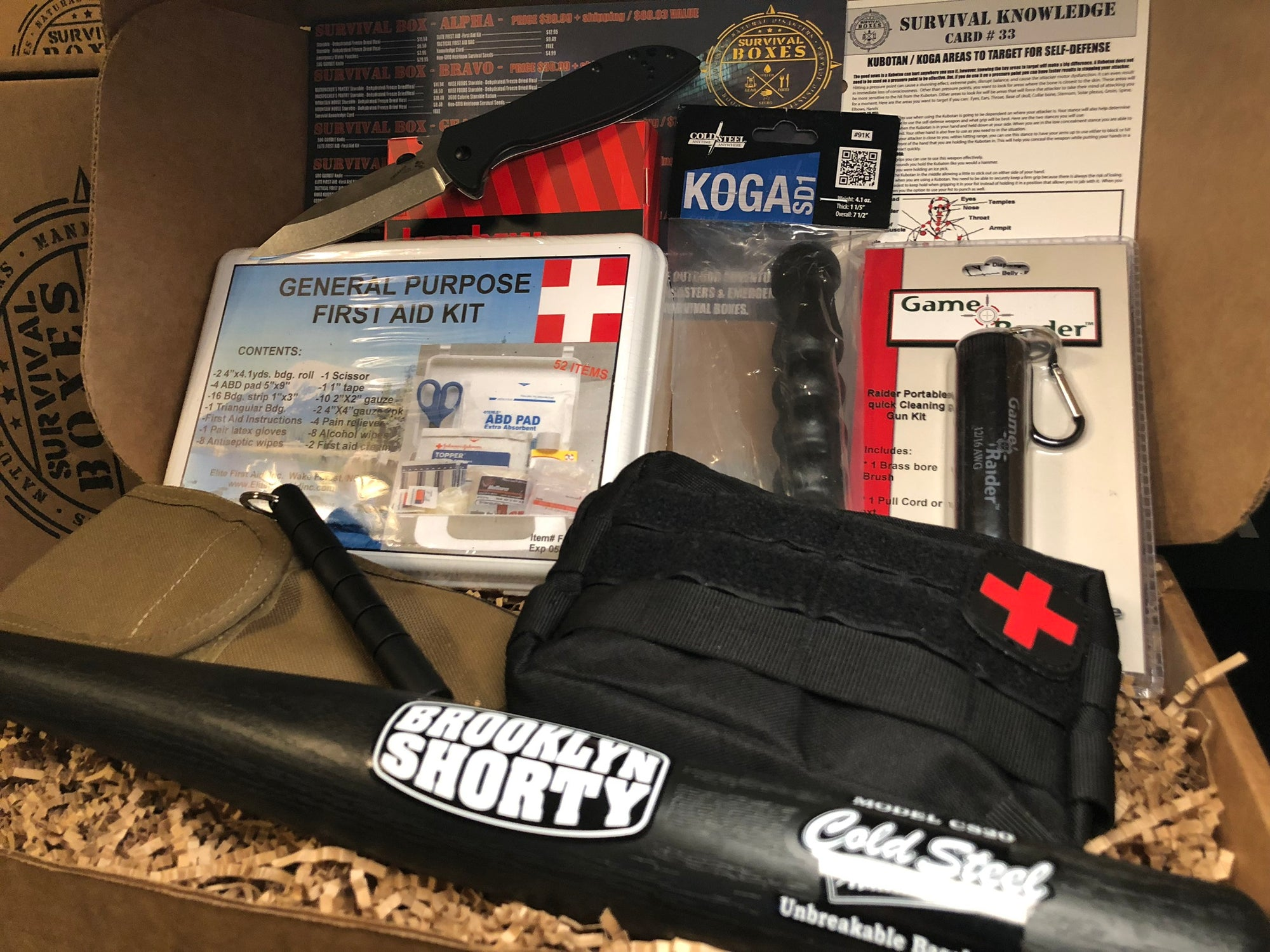 OCTOBER 2018 SURVIVAL BOX - GEAR ONLY XL SELF DEFENSE - FIGHT & FIRST AID