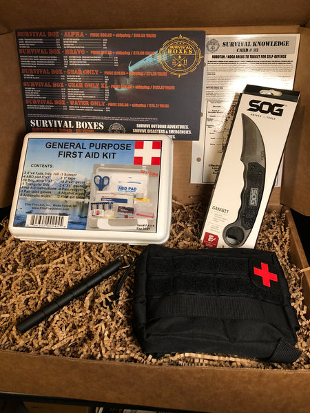 OCTOBER 2018 SURVIVAL BOX - GEAR ONLY SELF DEFENSE FIGHT & FIRST AID
