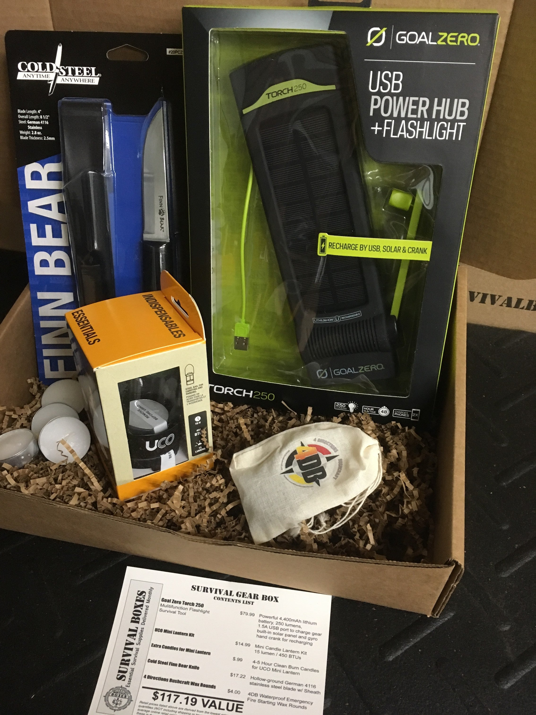 "FEBRUARY 2017 SURVIVAL BOX - GEAR ONLY XL - ""LIGHTS OUT"" LANTERNS & LIGHT FOR SURVIVAL"
