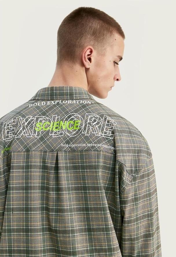 World Exploration Contrast Long Sleeve Plaid Shirt - Illusions Clothing