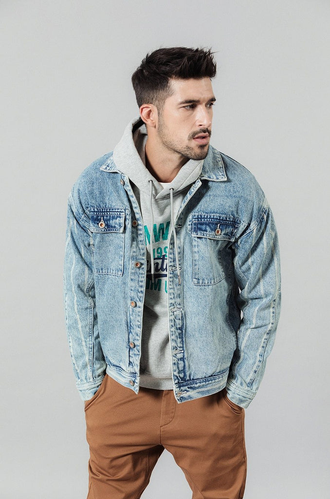 Double Pocketed Vertical Striped Denim Jacket