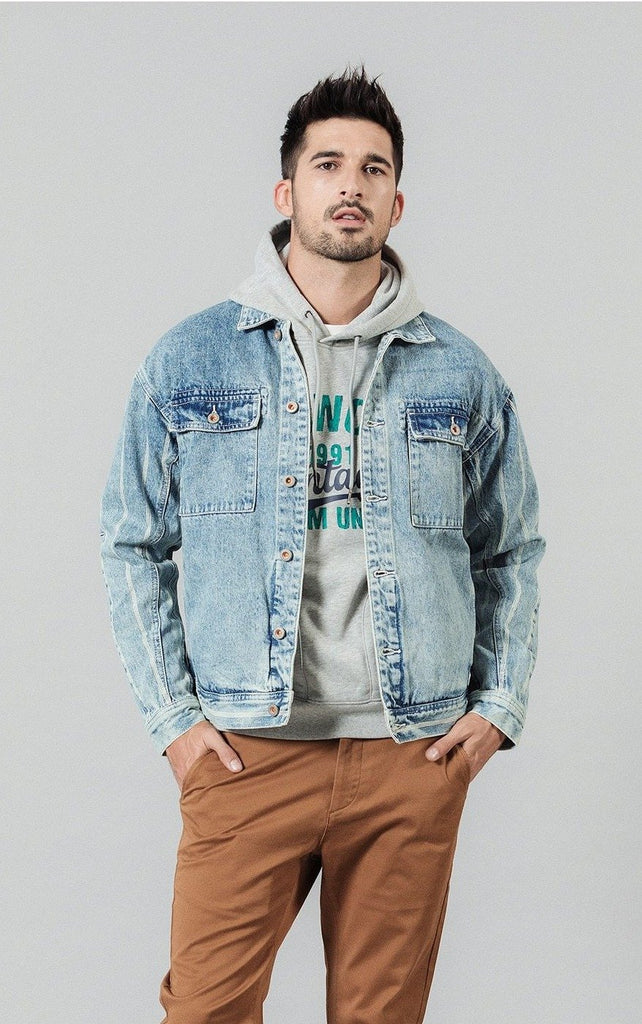 Double Pocketed Vertical Striped Denim Jacket - Illusions Clothing
