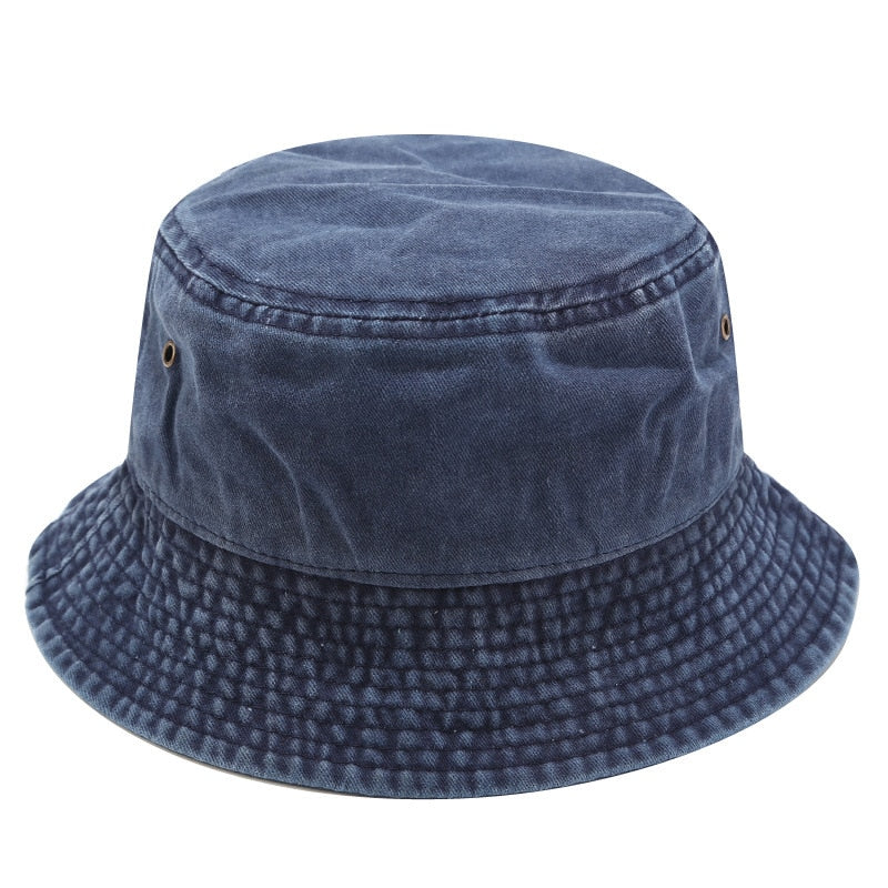 Navy Windproof Panama Fisherman's Hat
