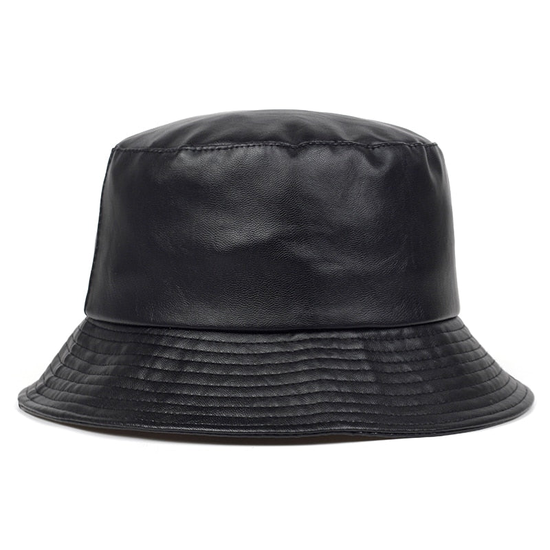 Black Faux Leather Panama Bucket Hat