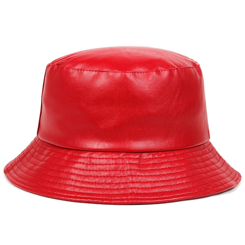 Red Faux Leather Panama Bucket Hat