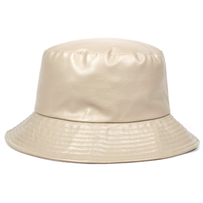 Beige Faux Leather Panama Bucket Hat