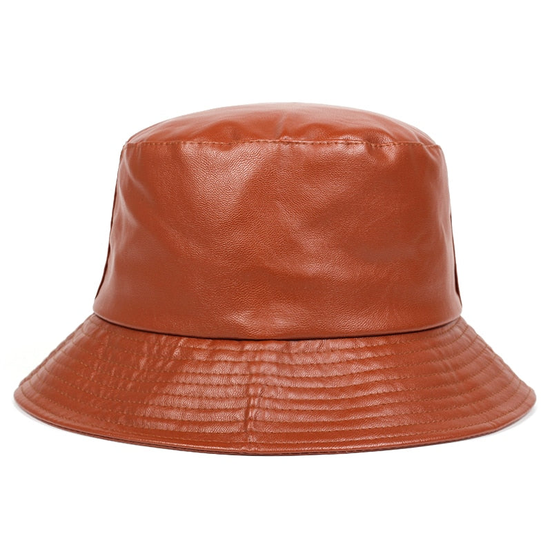 Brown Faux Leather Panama Bucket Hat