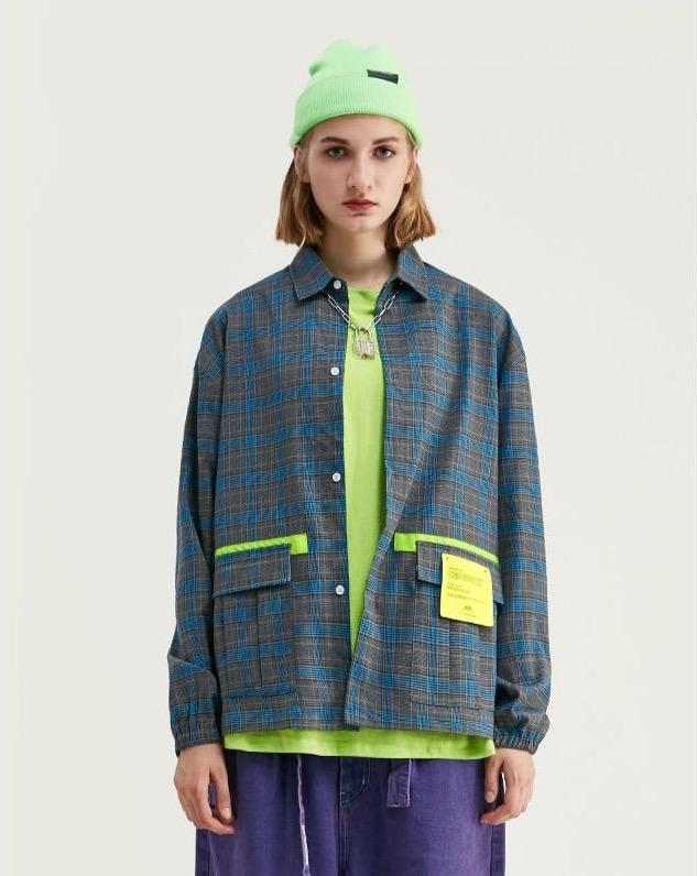 World Exploration Contrast Long Sleeve Plaid Shirt