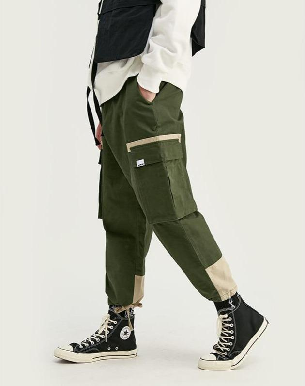 Multi-Pocket Drawstring Color Block Joggers
