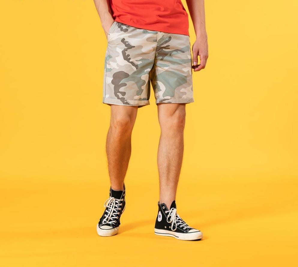 Enzyme Wash Camouflage Drawstring Shorts - Illusions Clothing