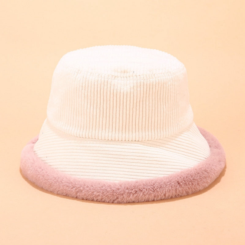White Corduroy Shearling Trimmed Bucket Hat
