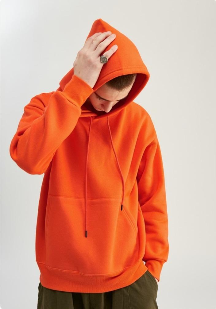 Solid Color Thick Fleece Hoodie