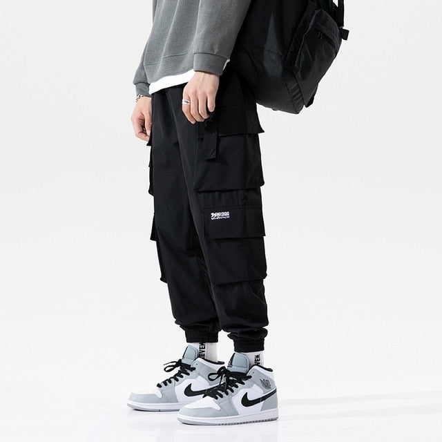 Multi-Pocket Ribbon Cargo Joggers