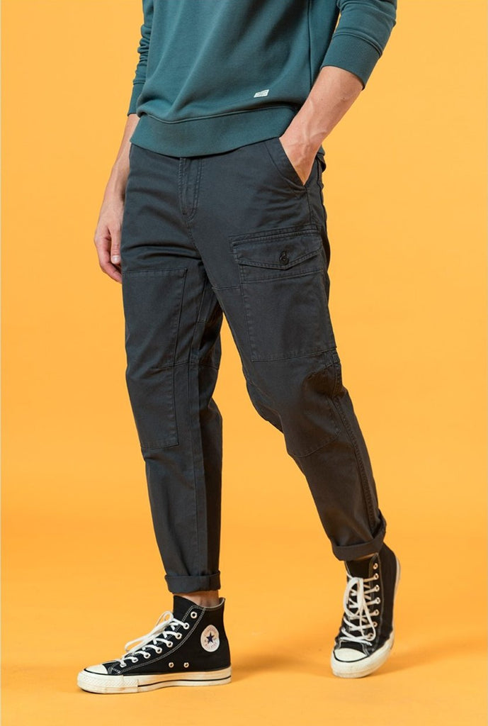Vintage Washed Cotton Tapered Cargo Pants