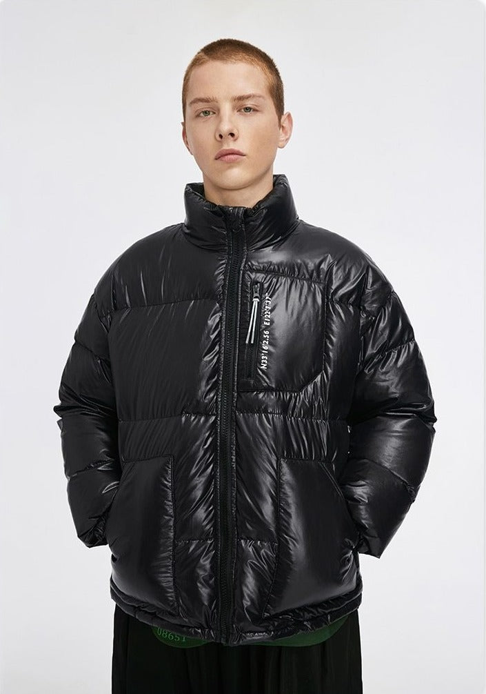 Glossy Windbreaker Puff Down Jacket