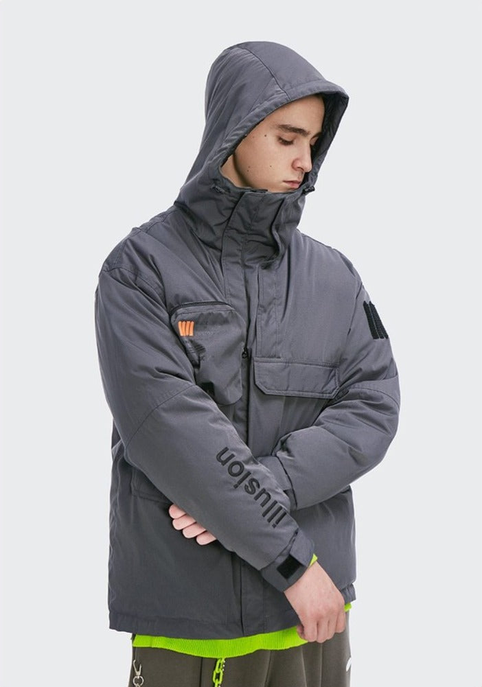 Illusion Windproof Hooded Winter Down Jacket