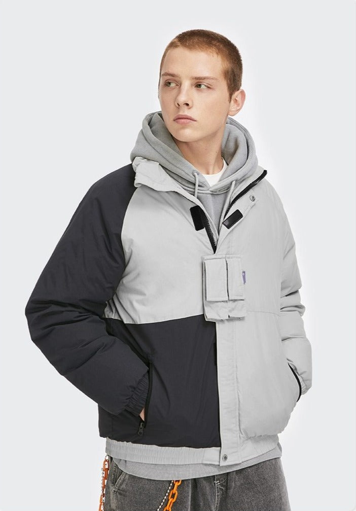 Color Block Windbreaker Down Jacket
