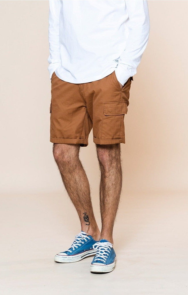 Enzyme Washed Multi-Pocket Cargo Shorts