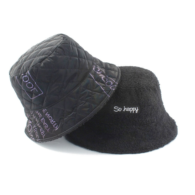 Faux Fur Diamond Quilt Panama Bucket Hat