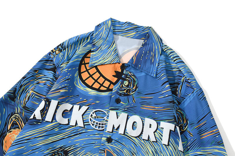 Rick & Morty's Starry Night Hawaiian Button Down