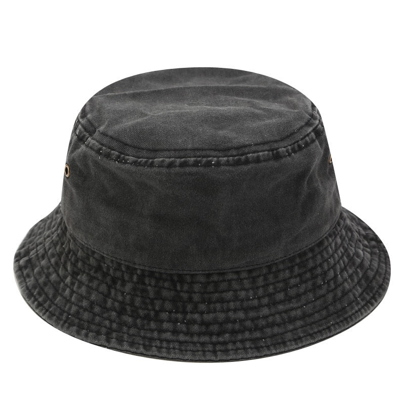 Black Windproof Panama Fisherman's Hat