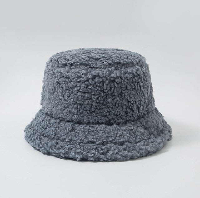 Foggy Blue Faux Furry Bucket Hat